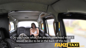 Black-haired woman ends up in fake taxi and gets banged