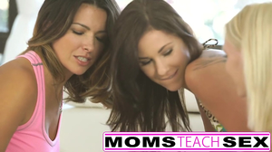 Mom and girls play with stranger and then have lesbian fun