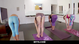 Four chicks and two boys practice yoga group sex