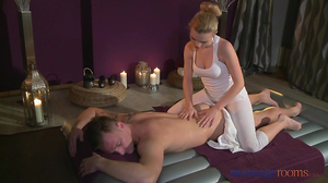 Masseuse and her client have fun on air mattress