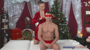 Beautiful Santa gives blindfold guy the best relax