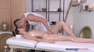 Couple has sensual sex session on massage table