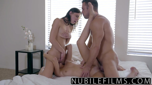 Teen seduces roommate into threesome fuck