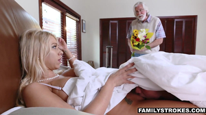 Young blonde with a necklace and huge tits is fucked