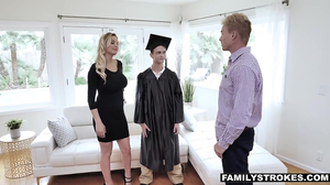 Blonde slut gives him a blowjob after graduating
