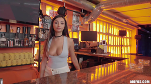 College babe works as a bartender in her spare time