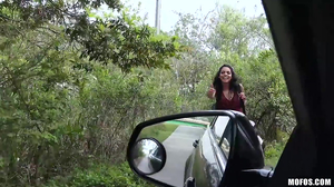 Exotic brunette is utterly banged inside of a car