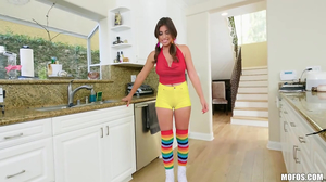 Young girl with rainbow socks is having sex in the room
