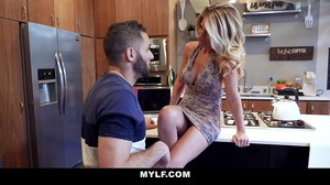 Blonde PAWg is fucked by a young dude in the kitchen