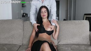 Young babe with dark hair loves her sugar daddy