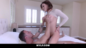 Honry dude chokes a MILF while fucking her hard
