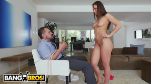 Petite girl with long legs takes on a tied up man