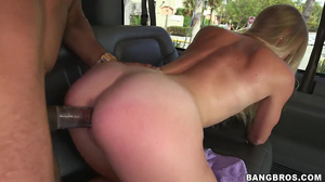 Skinny blondie getting fucked viciously in a van