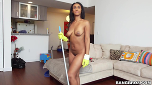 Latina maid sucks cock and gets fucked in cowgirl